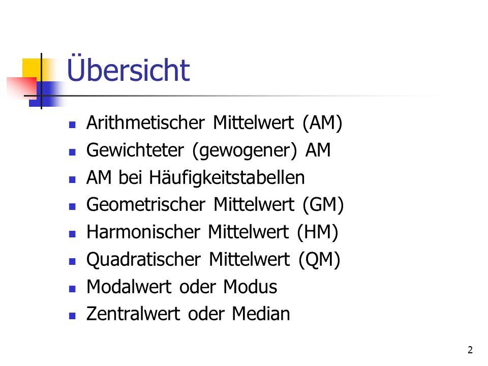 2 Übersicht Arithmetischer Mittelwert (AM) Gewichteter (gewogener) AM AM bei Häufigkeitstabellen Geometrischer Mittelwert (GM) Harmonischer Mittelwert