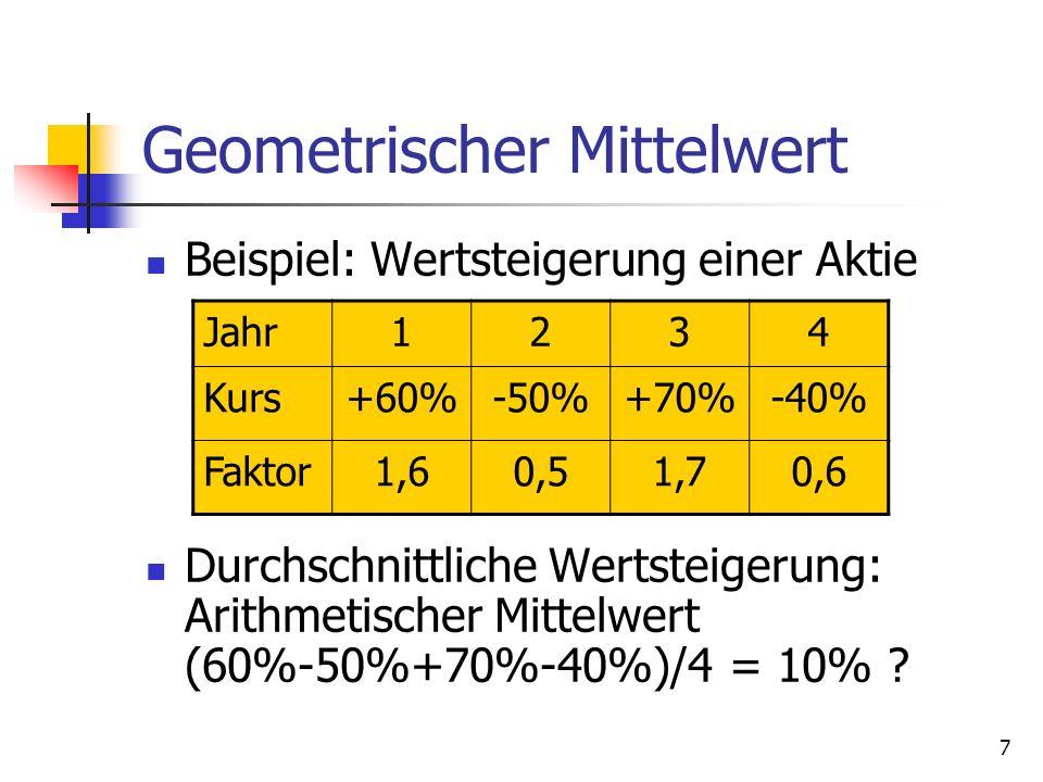 7 Geometrischer Mittelwert Beispiel: Wertsteigerung einer Aktie Durchschnittliche Wertsteigerung: Arithmetischer Mittelwert (60%-50%+70%-40%)/4 = 10%