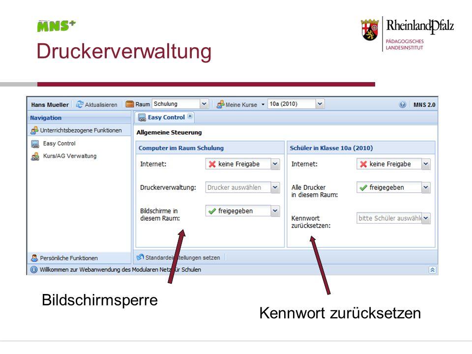 Druckerverwaltung Bildschirmsperre Kennwort zurücksetzen