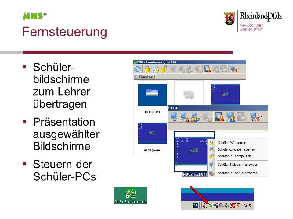 Fernsteuerung Schüler- bildschirme zum Lehrer übertragen Präsentation ausgewählter Bildschirme Steuern der Schüler-PCs