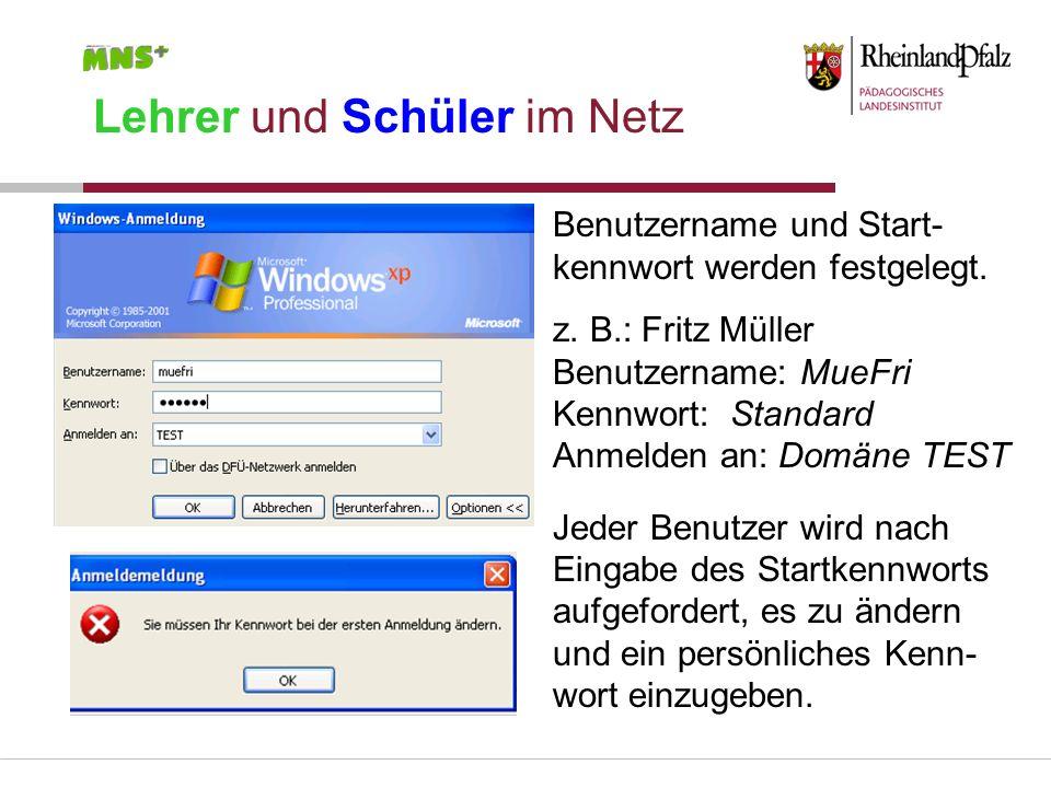 Lehrer und Schüler im Netz Benutzername und Start- kennwort werden festgelegt. z. B.: Fritz Müller Benutzername: MueFri Kennwort: Standard Anmelden an