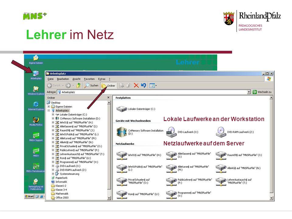 Lehrer im Netz Lokale Laufwerke an der Workstation Netzlaufwerke auf dem Server