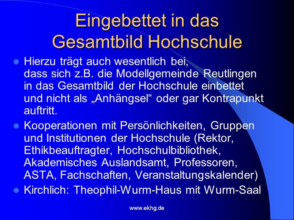 www.ekhg.de Eingebettet in das Gesamtbild Hochschule Hierzu trägt auch wesentlich bei, dass sich z.B.