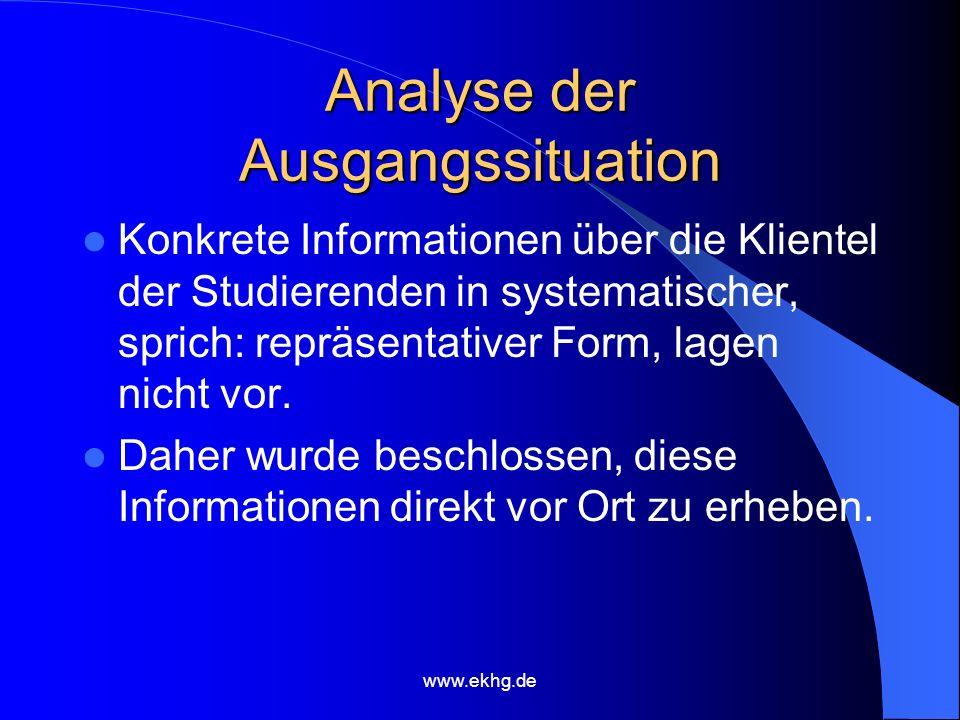 www.ekhg.de Analyse der Ausgangssituation Konkrete Informationen über die Klientel der Studierenden in systematischer, sprich: repräsentativer Form, lagen nicht vor.