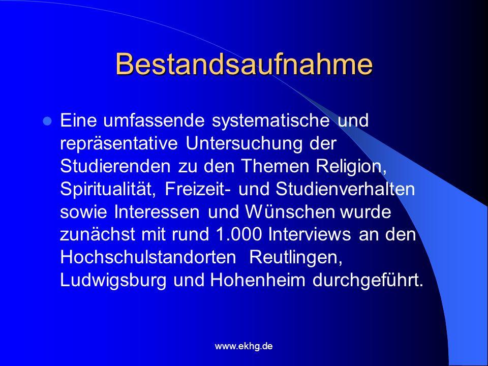 www.ekhg.de Bestandsaufnahme Eine umfassende systematische und repräsentative Untersuchung der Studierenden zu den Themen Religion, Spiritualität, Freizeit- und Studienverhalten sowie Interessen und Wünschen wurde zunächst mit rund 1.000 Interviews an den Hochschulstandorten Reutlingen, Ludwigsburg und Hohenheim durchgeführt.