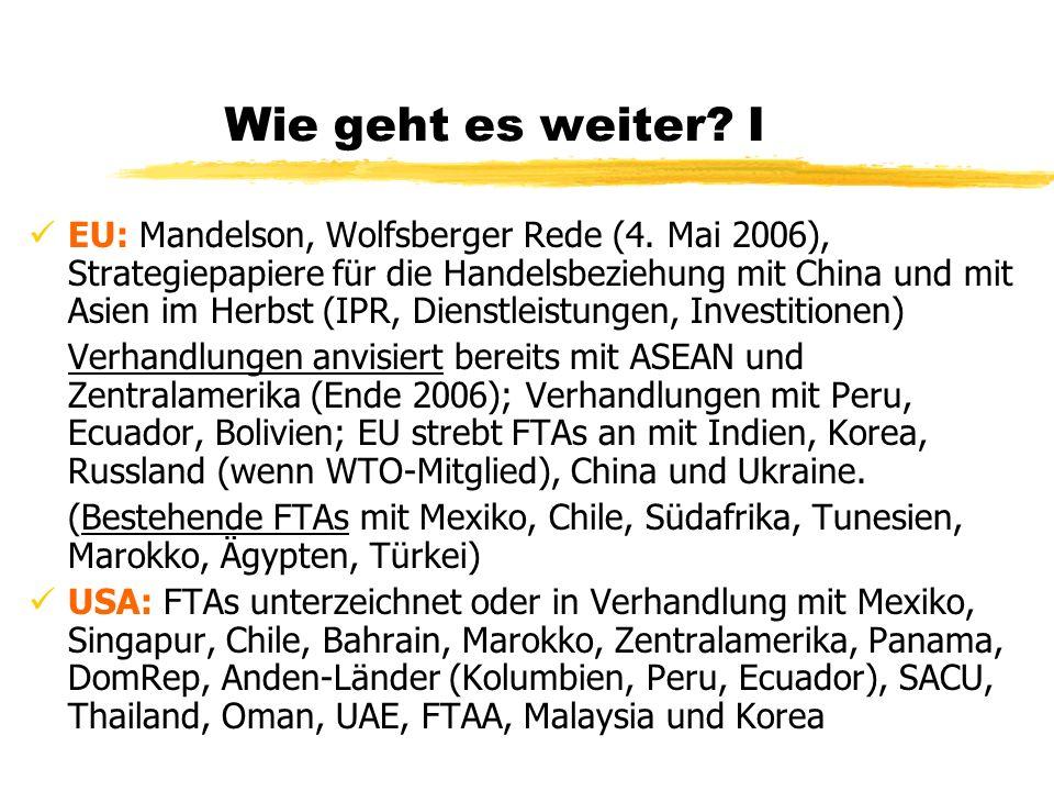 Wie geht es weiter? I EU: Mandelson, Wolfsberger Rede (4. Mai 2006), Strategiepapiere für die Handelsbeziehung mit China und mit Asien im Herbst (IPR,