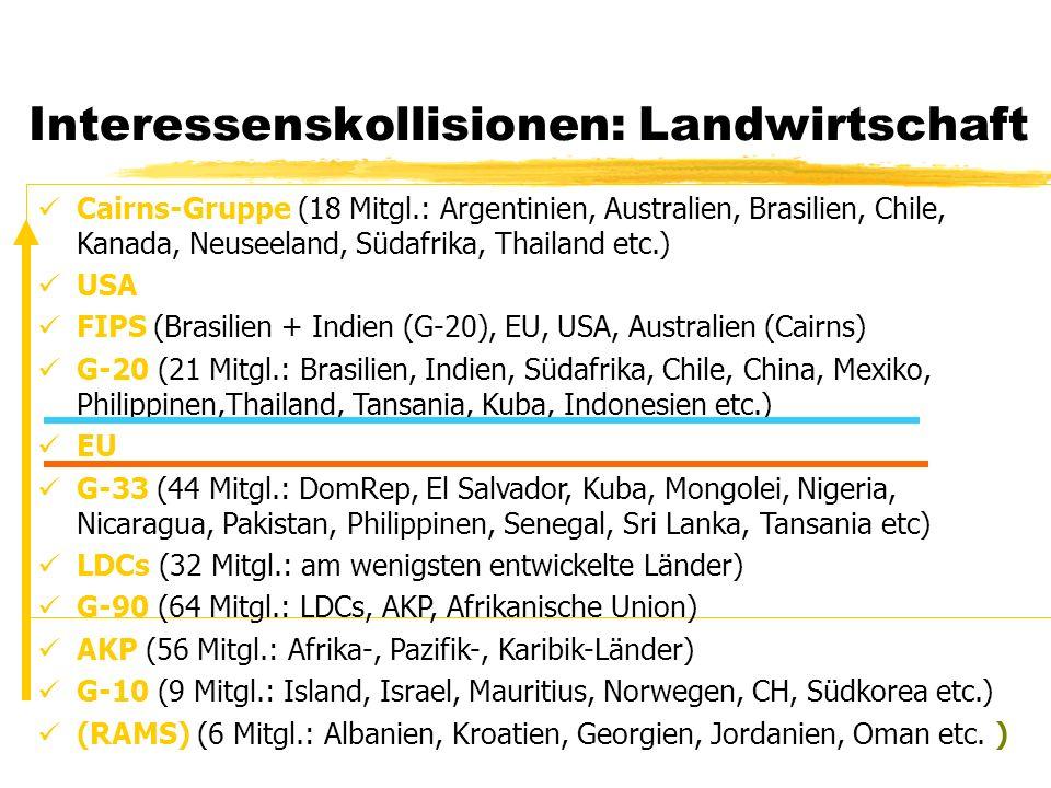 Interessenskollisionen: Landwirtschaft Cairns-Gruppe (18 Mitgl.: Argentinien, Australien, Brasilien, Chile, Kanada, Neuseeland, Südafrika, Thailand et