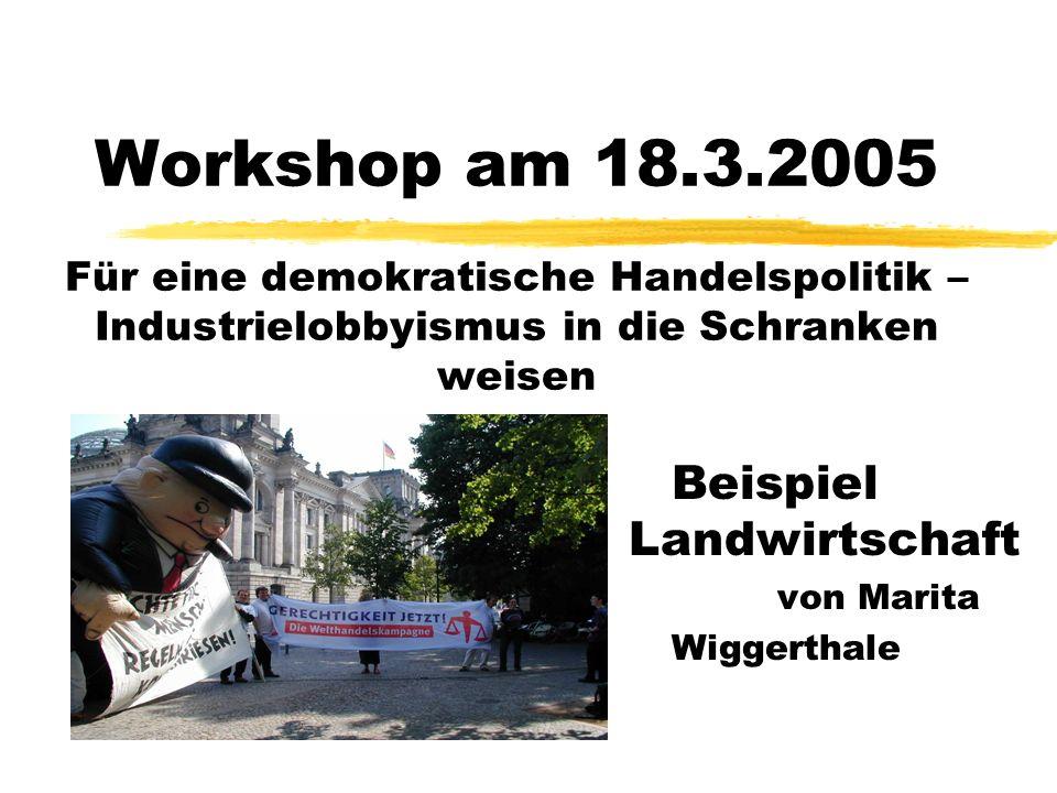 Workshop am 18.3.2005 Für eine demokratische Handelspolitik – Industrielobbyismus in die Schranken weisen Beispiel Landwirtschaft von Marita Wiggertha