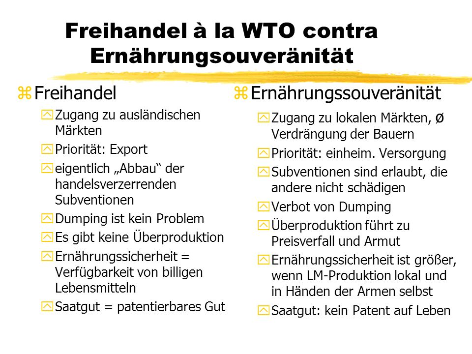 WTO-Regeln zur Ernährungssicherheit zRegeln im Agrarabkommen (AoA): yPräambel: Ernährungssicherung und Umweltschutz werden als nicht- handelsbezogene Anliegen genannt ySubventionen: Investitionsbeihilfen + Beihilfen für landwirt- schaftliche Betriebsmittel für Kleinbauern erlaubt (Art.