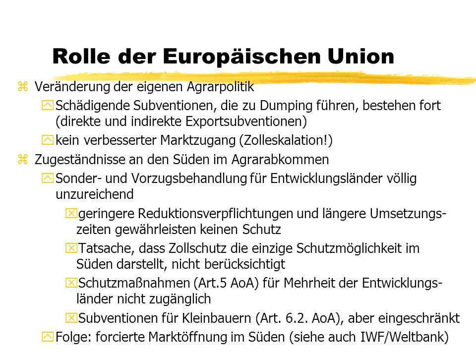 Rolle der Europäischen Union zVeränderung der eigenen Agrarpolitik ySchädigende Subventionen, die zu Dumping führen, bestehen fort (direkte und indire