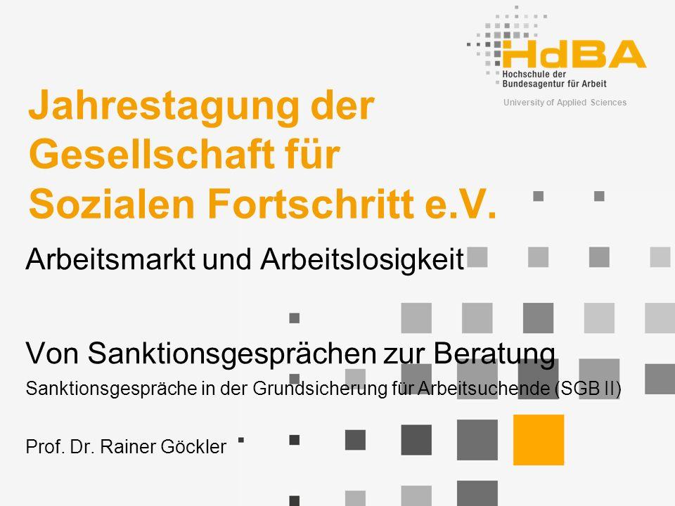 University of Applied Sciences Jahrestagung der Gesellschaft für Sozialen Fortschritt e.V.