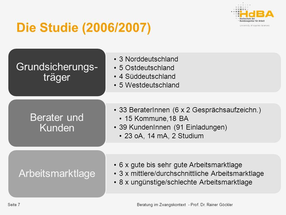 University of Applied Sciences Die Studie (2006/2007) 3 Norddeutschland 5 Ostdeutschland 4 Süddeutschland 5 Westdeutschland Grundsicherungs- träger 33 BeraterInnen (6 x 2 Gesprächsaufzeichn.) 15 Kommune,18 BA 39 KundenInnen (91 Einladungen) 23 oA, 14 mA, 2 Studium Berater und Kunden 6 x gute bis sehr gute Arbeitsmarktlage 3 x mittlere/durchschnittliche Arbeitsmarktlage 8 x ungünstige/schlechte Arbeitsmarktlage Arbeitsmarktlage Beratung im Zwangskontext - Prof.
