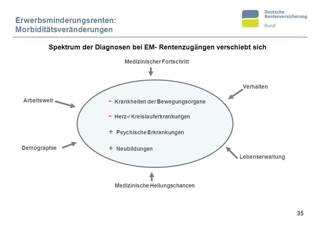 35 - Krankheiten der Bewegungsorgane - Herz-/ Kreislauferkrankungen + Psychische Erkrankungen + Neubildungen Demographie Medizinischer Fortschritt Ver