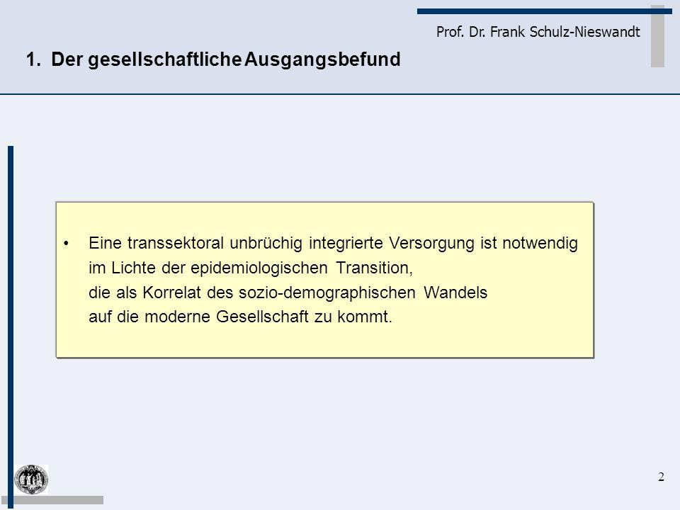 2 Prof. Dr. Frank Schulz-Nieswandt Eine transsektoral unbrüchig integrierte Versorgung ist notwendig im Lichte der epidemiologischen Transition, die a