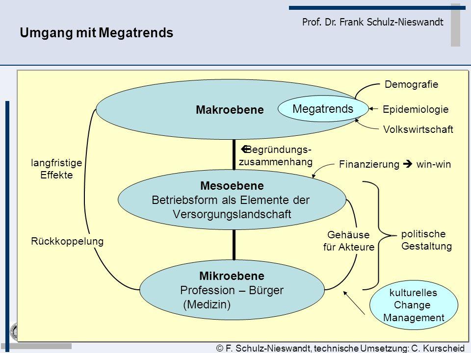 3 Prof. Dr. Frank Schulz-Nieswandt Umgang mit Megatrends © F. Schulz-Nieswandt, technische Umsetzung: C. Kurscheid Gehäuse für Akteure Rückkoppelung l