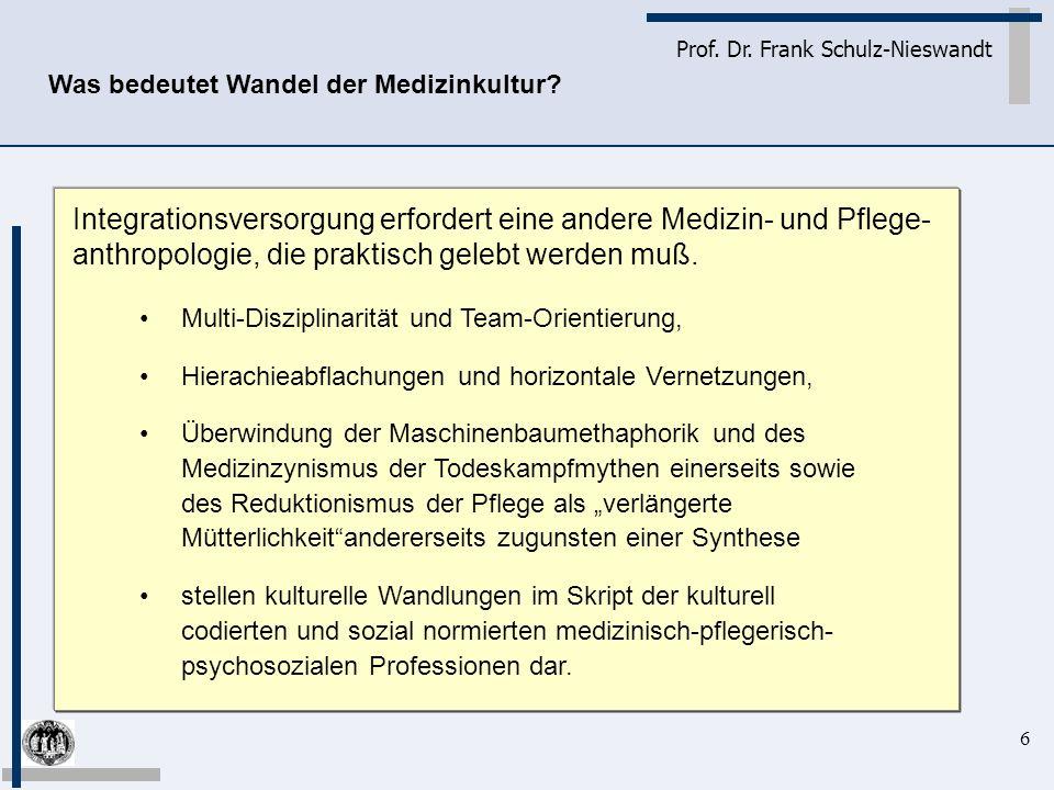 6 Prof. Dr. Frank Schulz-Nieswandt Multi-Disziplinarität und Team-Orientierung, Hierachieabflachungen und horizontale Vernetzungen, Überwindung der Ma