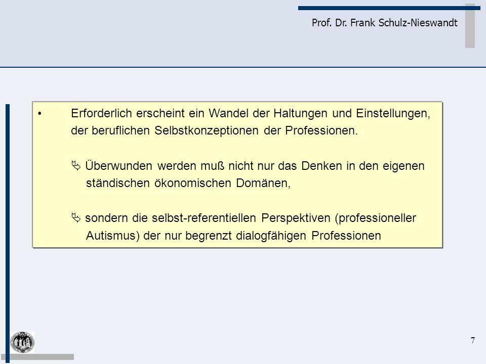 7 Prof. Dr. Frank Schulz-Nieswandt Erforderlich erscheint ein Wandel der Haltungen und Einstellungen, der beruflichen Selbstkonzeptionen der Professio