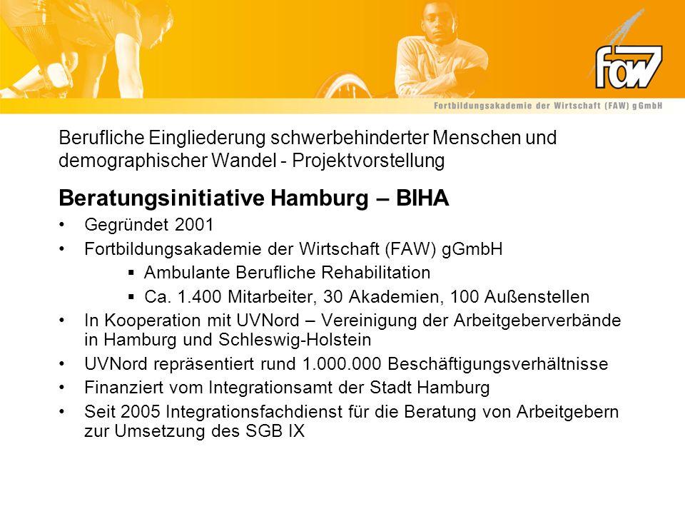 Berufliche Eingliederung schwerbehinderter Menschen und demographischer Wandel - Projektvorstellung Beratungsinitiative Hamburg – BIHA Gegründet 2001