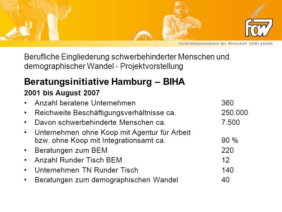 Berufliche Eingliederung schwerbehinderter Menschen und demographischer Wandel - Projektvorstellung Beratungsinitiative Hamburg – BIHA 2001 bis August