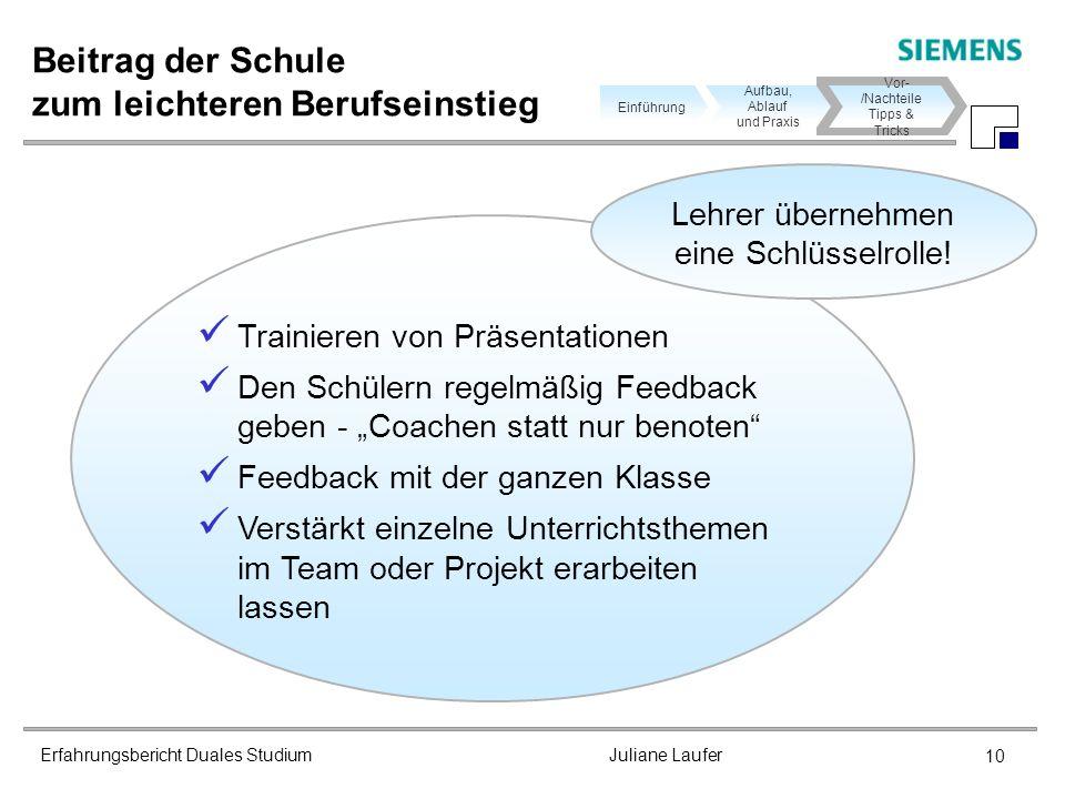 Erfahrungsbericht Duales Studium Juliane Laufer 10 Beitrag der Schule zum leichteren Berufseinstieg Aufbau, Ablauf und Praxis Einführung Vor- /Nachtei