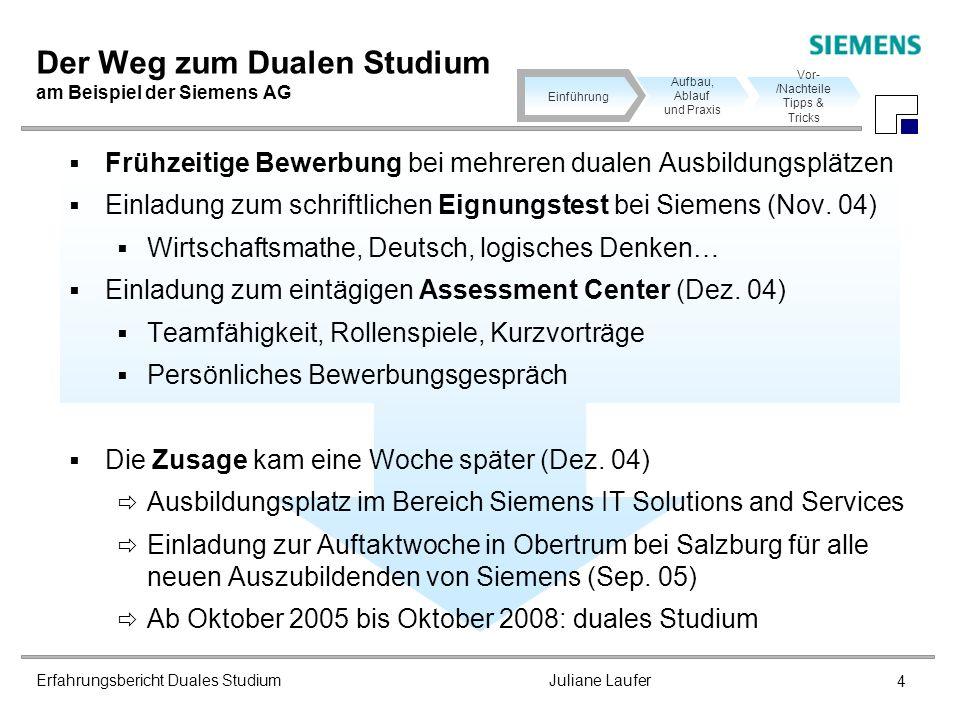 Erfahrungsbericht Duales Studium Juliane Laufer 4 Der Weg zum Dualen Studium am Beispiel der Siemens AG Frühzeitige Bewerbung bei mehreren dualen Ausb