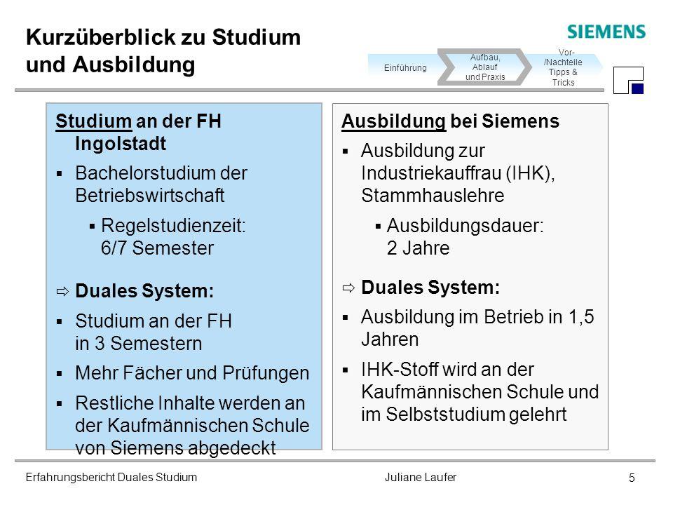 Erfahrungsbericht Duales Studium Juliane Laufer 5 Kurzüberblick zu Studium und Ausbildung Studium an der FH Ingolstadt Bachelorstudium der Betriebswir