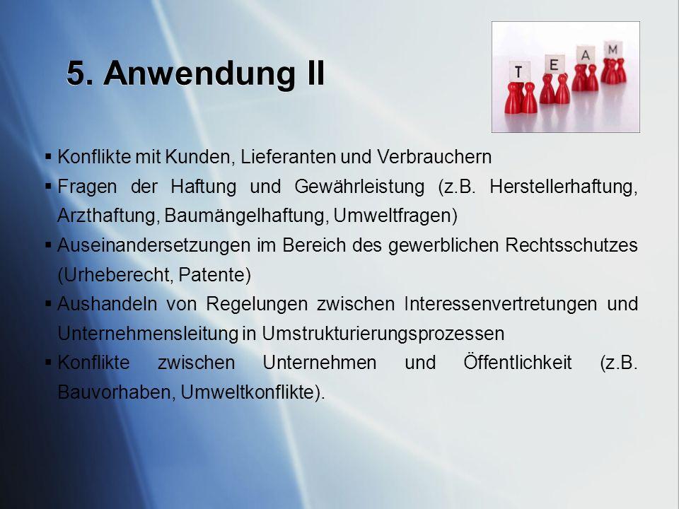 5. Anwendung II Konflikte mit Kunden, Lieferanten und Verbrauchern Fragen der Haftung und Gewährleistung (z.B. Herstellerhaftung, Arzthaftung, Baumäng
