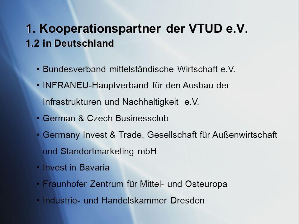 1. Kooperationspartner der VTUD e.V. 1.2 in Deutschland Bundesverband mittelständische Wirtschaft e.V. INFRANEU-Hauptverband für den Ausbau der Infras