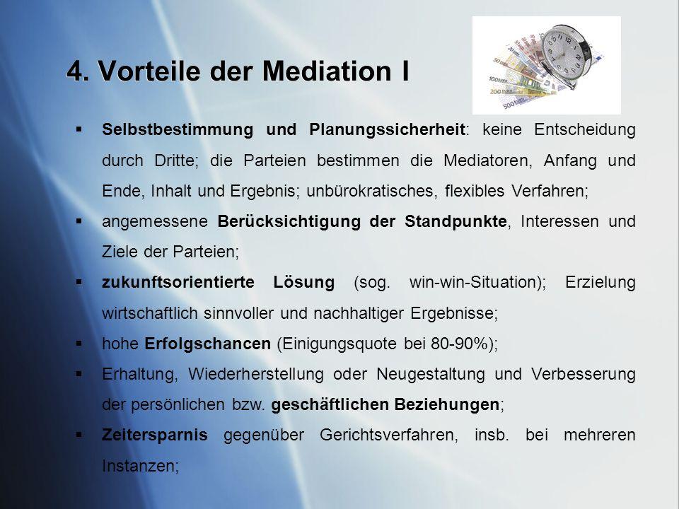 4. Vorteile der Mediation I Selbstbestimmung und Planungssicherheit: keine Entscheidung durch Dritte; die Parteien bestimmen die Mediatoren, Anfang un