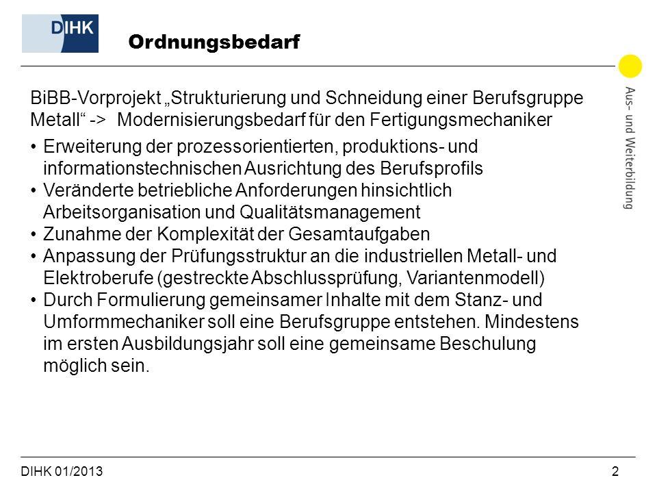 DIHK 01/2013 2 BiBB-Vorprojekt Strukturierung und Schneidung einer Berufsgruppe Metall -> Modernisierungsbedarf für den Fertigungsmechaniker Erweiteru