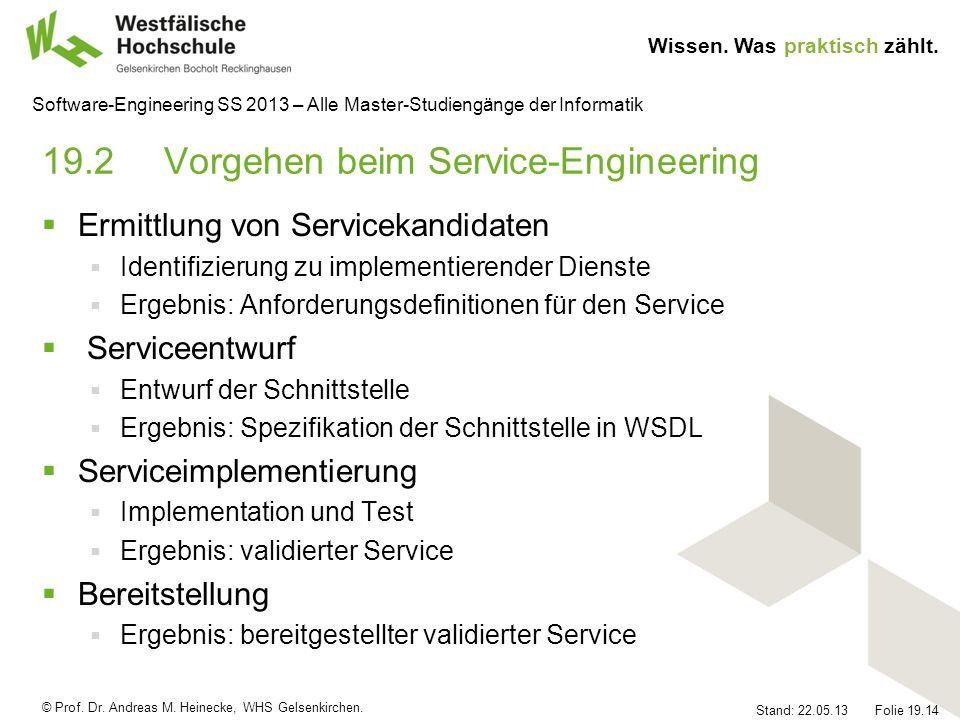 © Prof. Dr. Andreas M. Heinecke, WHS Gelsenkirchen. Wissen. Was praktisch zählt. Stand: 22.05.13 Folie 19.14 Software-Engineering SS 2013 – Alle Maste