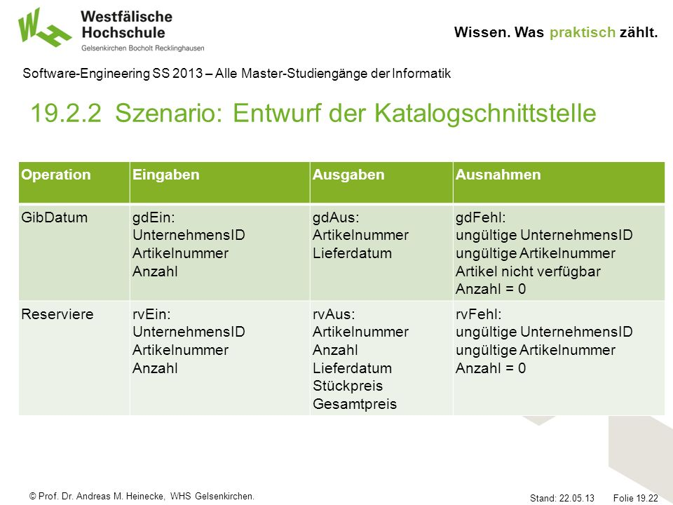 © Prof. Dr. Andreas M. Heinecke, WHS Gelsenkirchen. Wissen. Was praktisch zählt. Stand: 22.05.13 Folie 19.22 Software-Engineering SS 2013 – Alle Maste