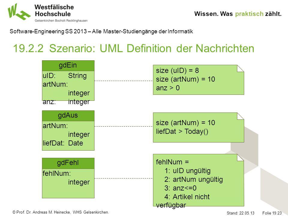 © Prof. Dr. Andreas M. Heinecke, WHS Gelsenkirchen. Wissen. Was praktisch zählt. Stand: 22.05.13 Folie 19.23 Software-Engineering SS 2013 – Alle Maste