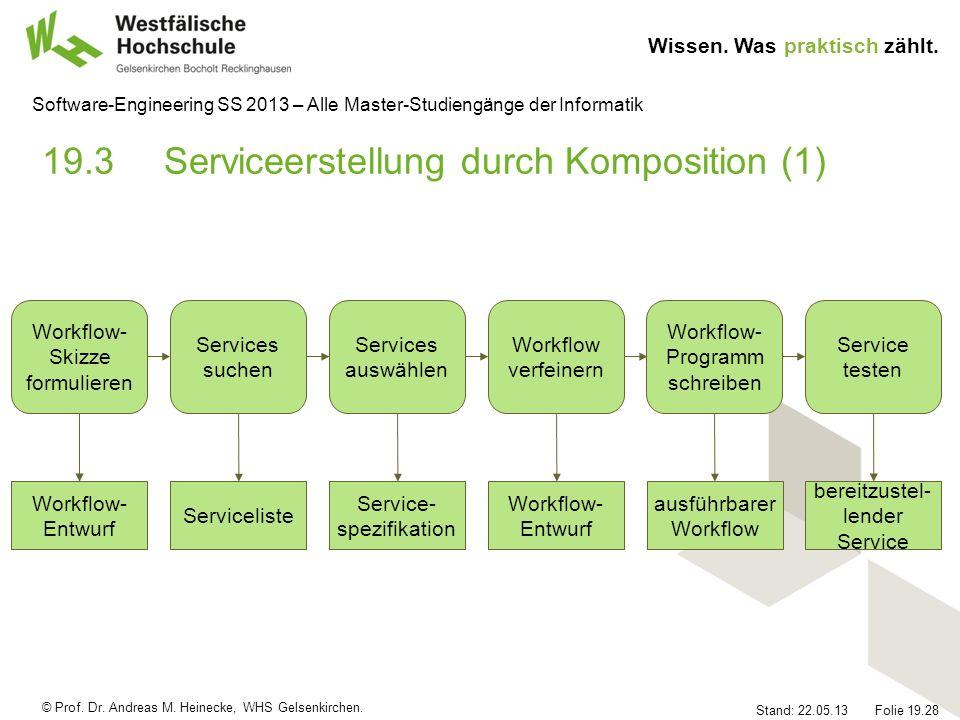 © Prof. Dr. Andreas M. Heinecke, WHS Gelsenkirchen. Wissen. Was praktisch zählt. Stand: 22.05.13 Folie 19.28 Software-Engineering SS 2013 – Alle Maste