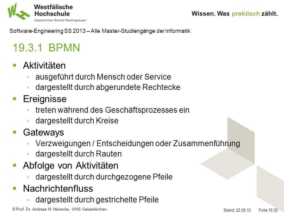 © Prof. Dr. Andreas M. Heinecke, WHS Gelsenkirchen. Wissen. Was praktisch zählt. Stand: 22.05.13 Folie 19.32 Software-Engineering SS 2013 – Alle Maste