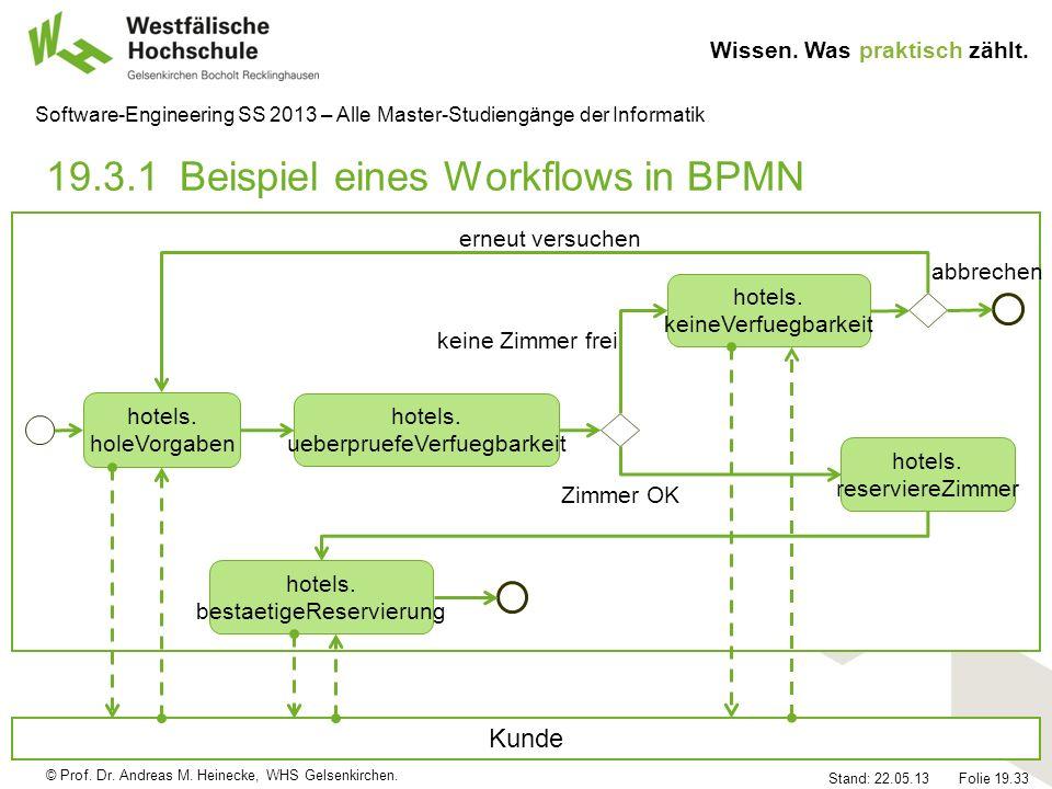 © Prof. Dr. Andreas M. Heinecke, WHS Gelsenkirchen. Wissen. Was praktisch zählt. Stand: 22.05.13 Folie 19.33 Software-Engineering SS 2013 – Alle Maste