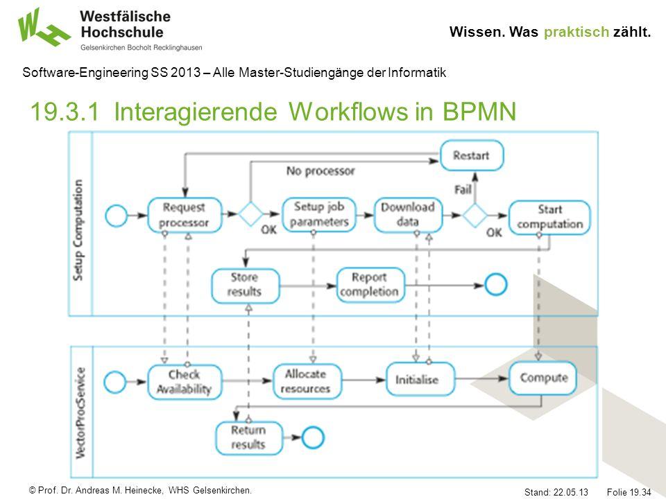 © Prof. Dr. Andreas M. Heinecke, WHS Gelsenkirchen. Wissen. Was praktisch zählt. Stand: 22.05.13 Folie 19.34 Software-Engineering SS 2013 – Alle Maste