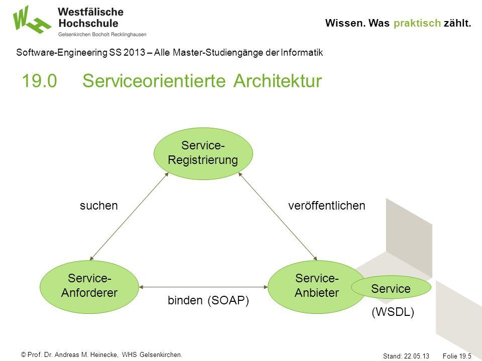 © Prof. Dr. Andreas M. Heinecke, WHS Gelsenkirchen. Wissen. Was praktisch zählt. Stand: 22.05.13 Folie 19.5 Software-Engineering SS 2013 – Alle Master