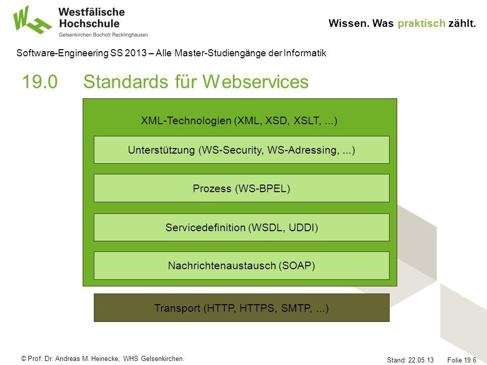 © Prof. Dr. Andreas M. Heinecke, WHS Gelsenkirchen. Wissen. Was praktisch zählt. Stand: 22.05.13 Folie 19.6 Software-Engineering SS 2013 – Alle Master
