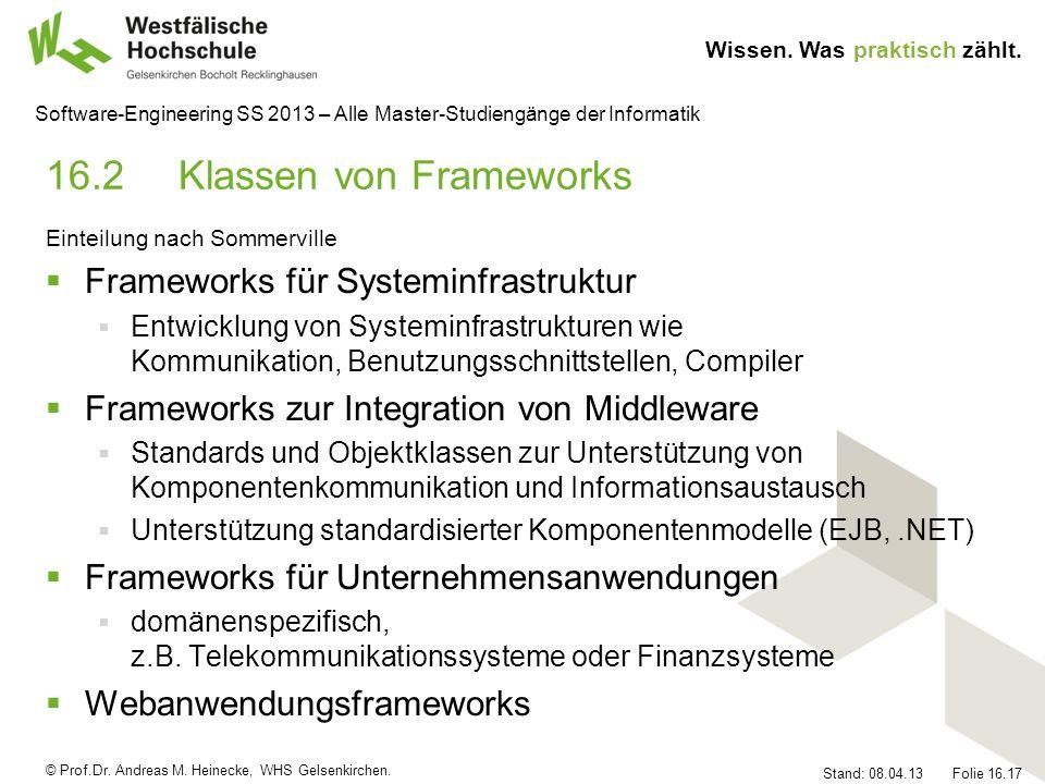 © Prof.Dr. Andreas M. Heinecke, WHS Gelsenkirchen. Wissen. Was praktisch zählt. Stand: 08.04.13 Folie 16.17 Software-Engineering SS 2013 – Alle Master