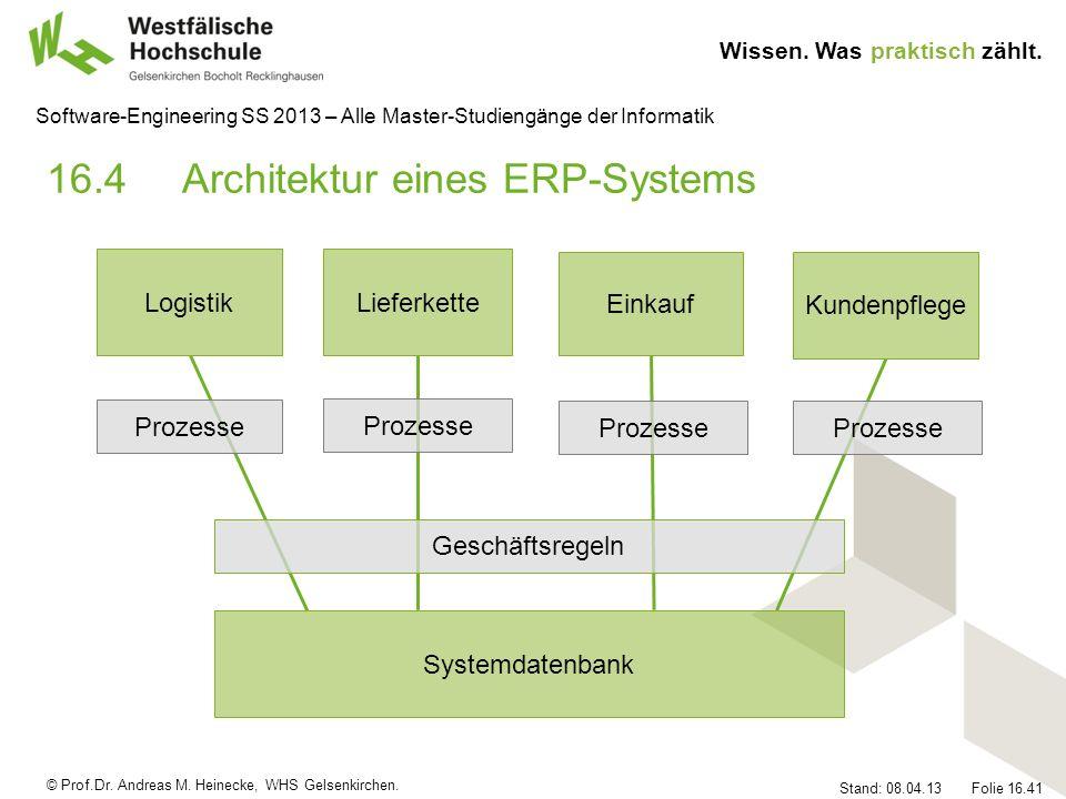 © Prof.Dr. Andreas M. Heinecke, WHS Gelsenkirchen. Wissen. Was praktisch zählt. Stand: 08.04.13 Folie 16.41 Software-Engineering SS 2013 – Alle Master