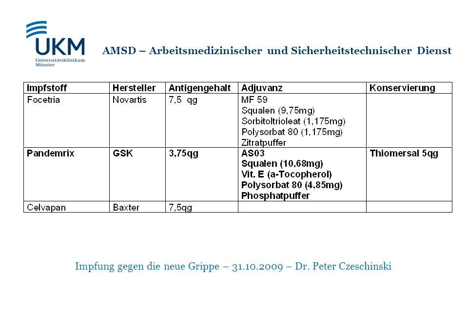 Impfung gegen die neue Grippe – 31.10.2009 – Dr. Peter Czeschinski AMSD – Arbeitsmedizinischer und Sicherheitstechnischer Dienst