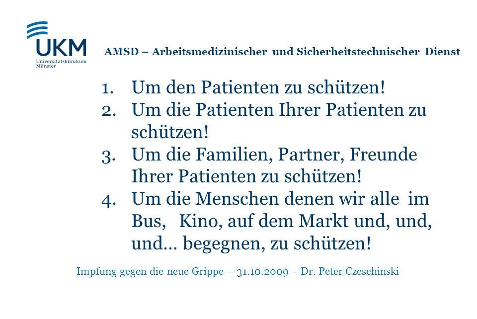 Impfung gegen die neue Grippe – 31.10.2009 – Dr. Peter Czeschinski 1.Um den Patienten zu schützen! 2.Um die Patienten Ihrer Patienten zu schützen! 3.U