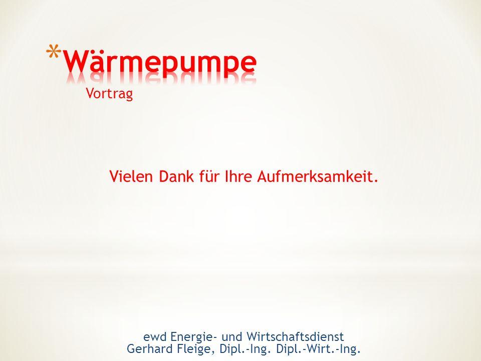 Vielen Dank für Ihre Aufmerksamkeit. Vortrag ewd Energie- und Wirtschaftsdienst Gerhard Fleige, Dipl.-Ing. Dipl.-Wirt.-Ing.