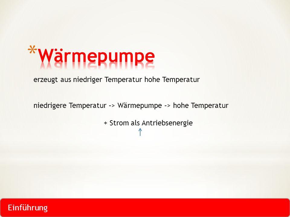 erzeugt aus niedriger Temperatur hohe Temperatur niedrigere Temperatur –> Wärmepumpe –> hohe Temperatur + Strom als Antriebsenergie Einführung
