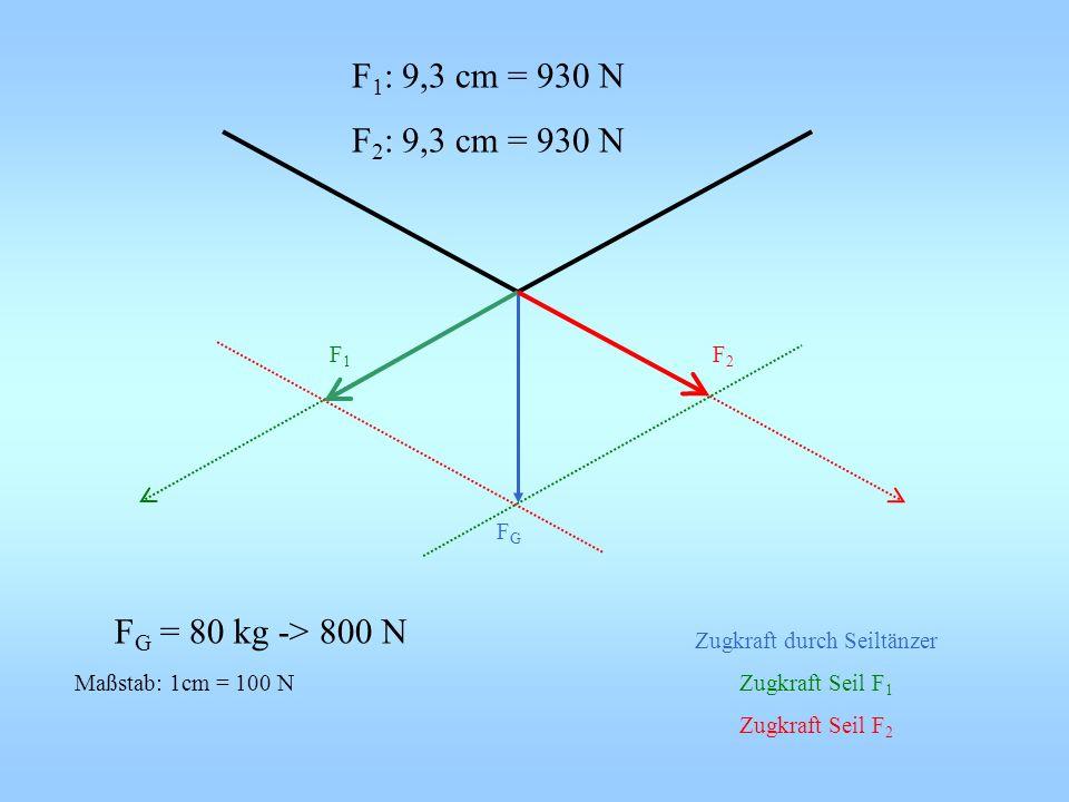 Maßstab: 1cm = 100 N Zugkraft durch Seiltänzer Zugkraft Seil F 1 Zugkraft Seil F 2 F1F1 F2F2 FGFG F 1 : 9,3 cm = 930 N F 2 : 9,3 cm = 930 N F G = 80 k