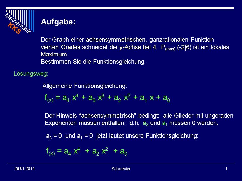 Mathematik KKS Schneider2 28.01.2014 Hinweis y-Abschnitt: f (x) = 4 Bedingung x = 0 liefert die Bestimmungsgleichung: 4 = a 4 0 4 + a 2 0 2 + a 0 f (x) = a 4 x 4 + a 2 x 2 + a 0 a 0 = 4 damit ist unsere Funktion um ein weiteres Glied bestimmt: f (x) = a 4 x 4 + a 2 x 2 + 4 Der P (-2|6) ist ein Punkt der Ausgangsfunktion f (x) f (x) = a 4 x 4 + a 2 x 2 + 4 Einsetzen des Punktes ergibt: 6 = a 4 (-2) 4 + a 2 (-2) 2 + 4 6 = 16 a 4 + 4a 2 + 4 2 = 16 a 4 + 4a 2 1.