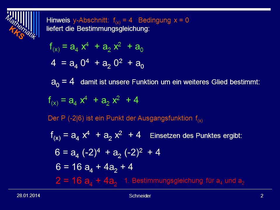 Mathematik KKS Schneider2 28.01.2014 Hinweis y-Abschnitt: f (x) = 4 Bedingung x = 0 liefert die Bestimmungsgleichung: 4 = a 4 0 4 + a 2 0 2 + a 0 f (x