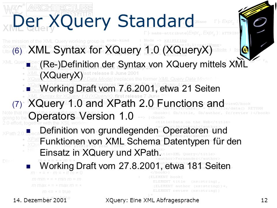 14. Dezember 2001 XQuery: Eine XML Abfragesprache12 Der XQuery Standard (6) XML Syntax for XQuery 1.0 (XQueryX) (Re-)Definition der Syntax von XQuery