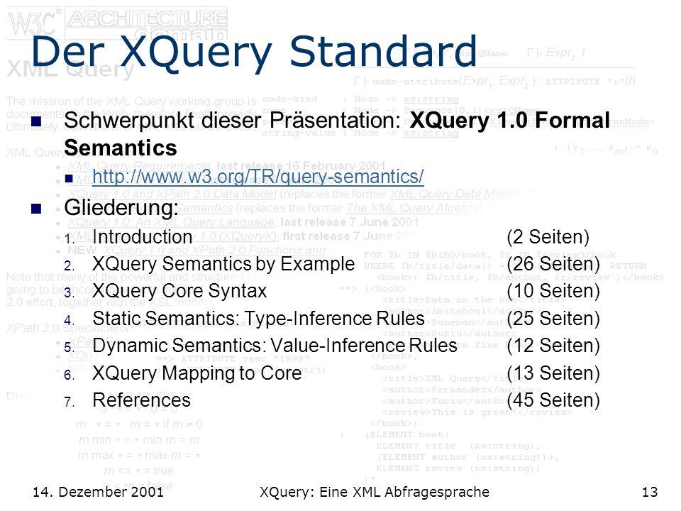 14. Dezember 2001 XQuery: Eine XML Abfragesprache13 Der XQuery Standard Schwerpunkt dieser Präsentation: XQuery 1.0 Formal Semantics http://www.w3.org